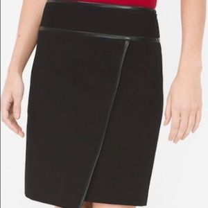 WHBM Faux Leather Trim Wrap Front Knit Skirt